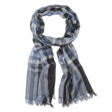 Blå skotskrutig bomull halsduk