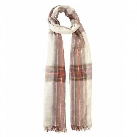 Benvit skotskrutig bomull halsduk