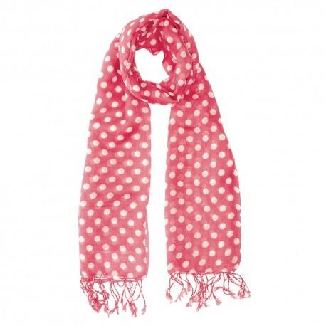 Pink halsduk med vita prickar