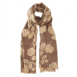Brun blommig halsduk i siden blandning