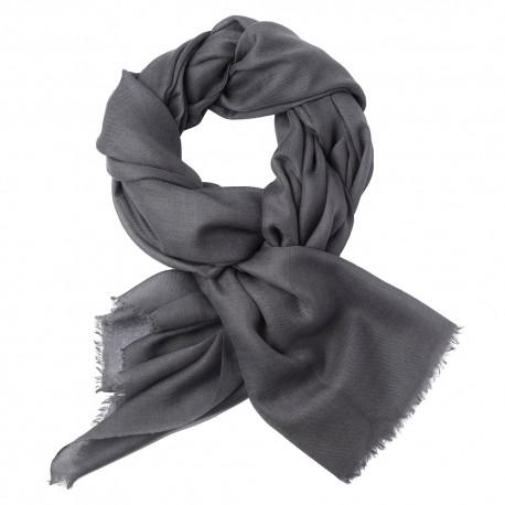 Mörkgrå pashmina sjal i 2-trädigt kypert
