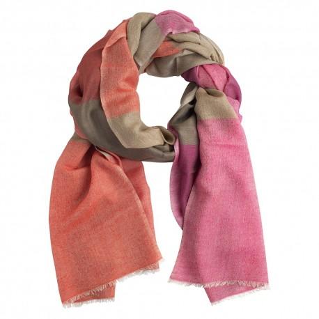 Rutig silke / kashmir sjal i röda färger