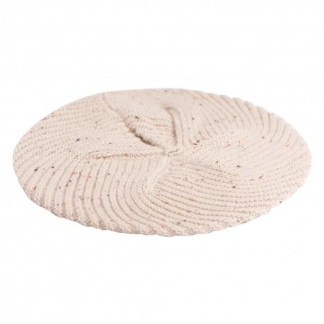 Beige flecked stickad basker i ren kashmir