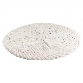 Vit flecked stickad basker i ren kashmir