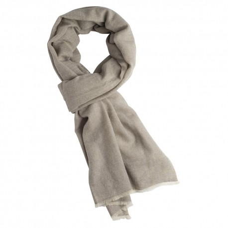 Kashmir halsduk i vit / grå melange