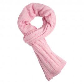 Ljusrosa flecked stickad kashmir scarf