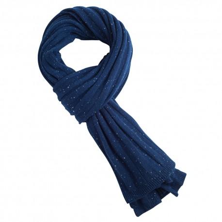 Blå flecked stickad kashmir scarf
