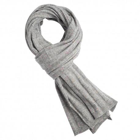 Grå flecked stickad kashmir scarf