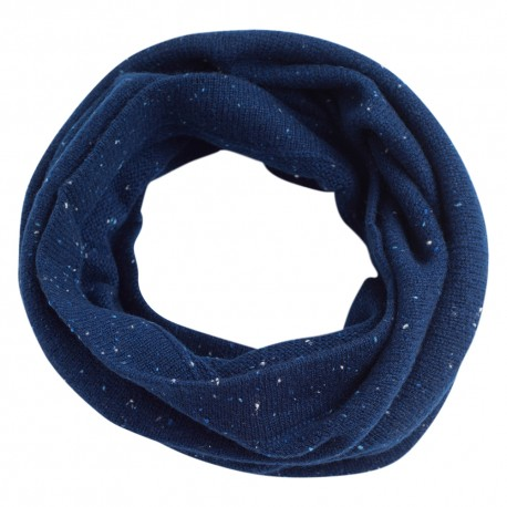 Blå flecked stickad halsvärmare i kashmir